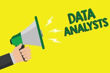 Text sign showing Data Analysts. Conceptual photo Programmer Design and Create Report Identifies patterns Man holding megaphone loudspeaker yellow background message speaking loud.