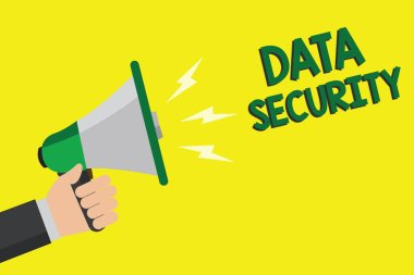 Text sign showing Data Security. Conceptual photo Confidentiality Disk Encryption Backups Password Shielding Man holding megaphone loudspeaker yellow background message speaking loud.