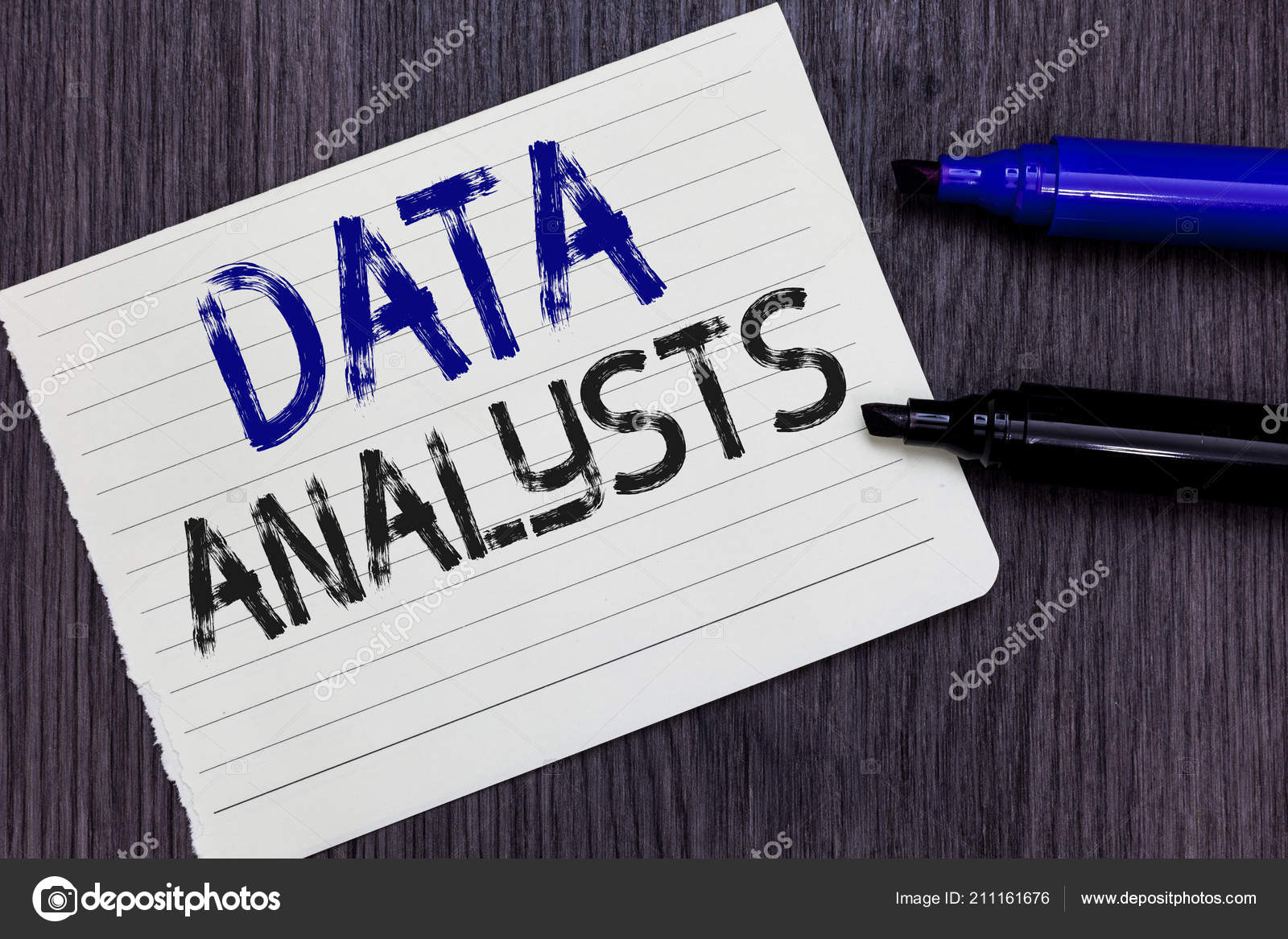 Writing note showing Data Analysts. Business photo
