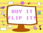 Textschild, das den Kauf zeigt, umdrehen. konzeptionelle Foto kaufen etwas reparieren sie dann verkaufen sie für mehr Gewinn