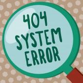 Aplikace Word psaní textu 404 chyba systému. Obchodní koncept zprávy se zobrazí, když webové stránky je dole a nelze dosáhnout