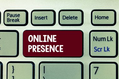 Conceptual hand writing showing Online Presence. Business photo showcasing existence of someone that can be found via an online search