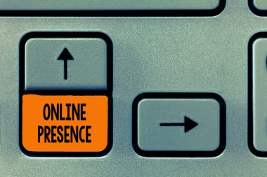 Text sign showing Online Presence. Conceptual photo existence of someone that can be found via an online search