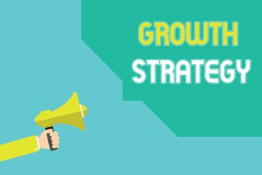 Writing note showing Growth Strategy. Business photo showcasing Strategy aimed at winning larger market share in shortterm