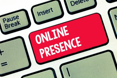 Handwriting text writing Online Presence. Concept meaning existence of someone that can be found via an online search