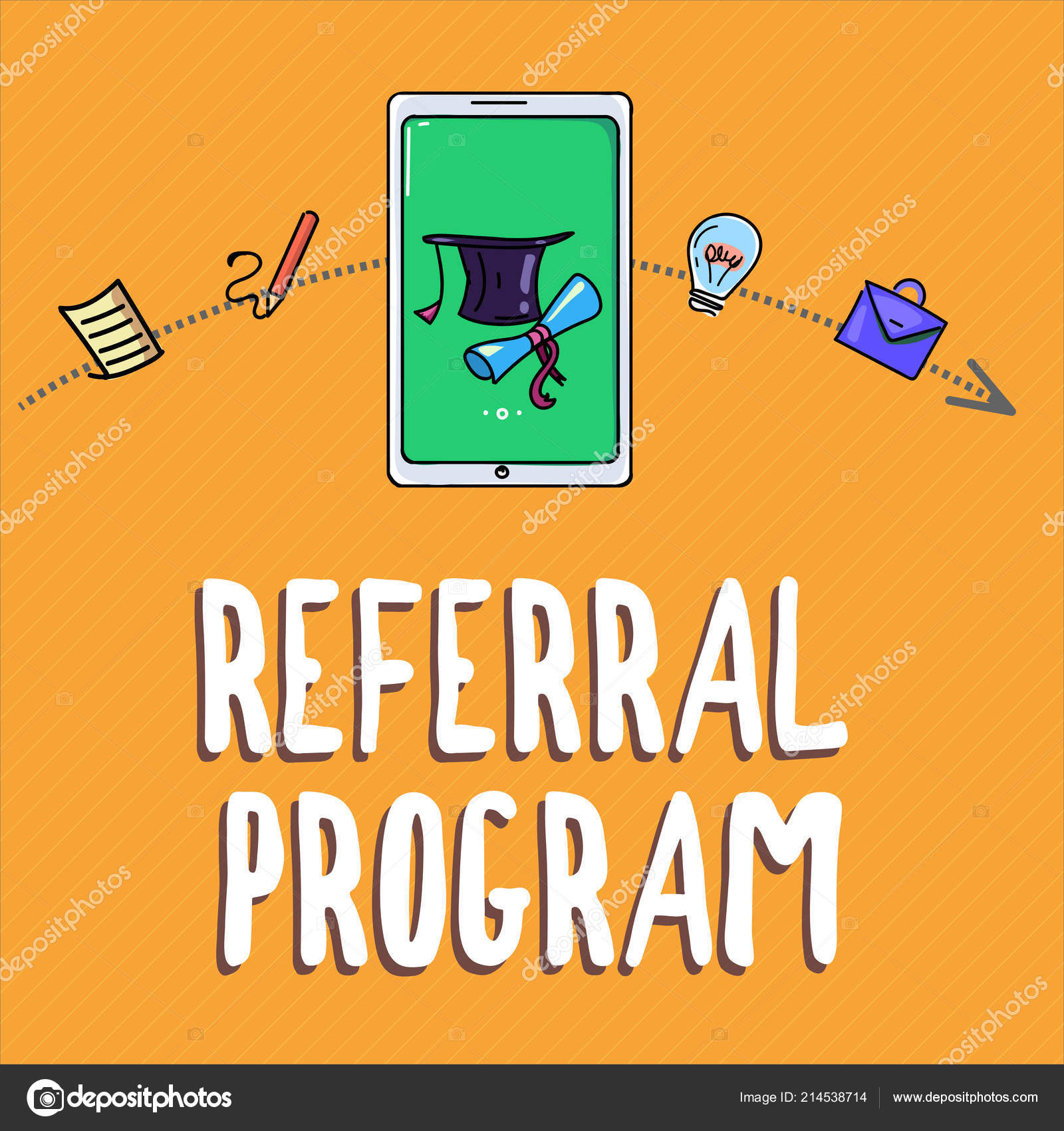 Handwriting text writing Referral Program  Concept meaning