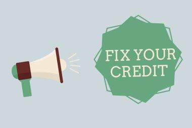 """Картина, постер, плакат, фотообои """"Слова, написание текста исправить ваш кредит. Бизнес-концепция для держать остатки низкий на кредитные карты и другие кредитные"""", артикул 214541524"""