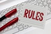 Fotografie Textregeln. Geschäftskonzept zur Ausübung der ultimativen Macht über das Gebiet und seine Menschen Regulierung