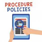 Fotografie Handwriting text Procedure Policies. Concept meaning Steps to Guiding Principles Rules and Regulations