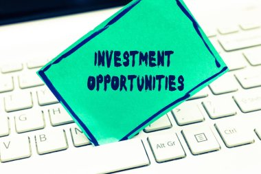 Word writing text Investment Opportunities. Business concept for a Purchase that has a chance to Gain Value