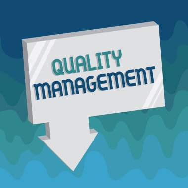 Handwriting text Quality Management. Concept meaning Maintain Excellence Level High Standard Product Services