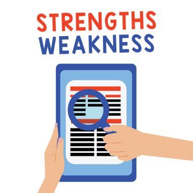 Handwriting text Strengths Weakness. Concept meaning Opportunity and Threat Analysis Positive and Negative
