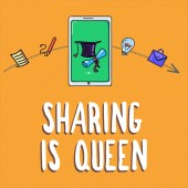 Text rukopisu psaní sdílení je královna. Koncept význam dávat další informace nebo patří je výborná kvalita