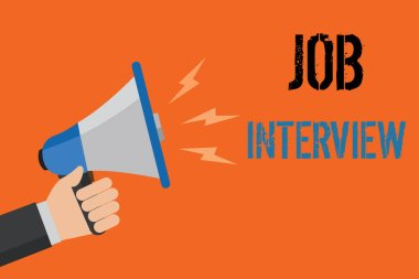 Conceptual hand writing showing Job Interview. Business photo text Assessment Questions Answers Hiring Employment Panel Man holding loudspeaker orange background message speaking loud.