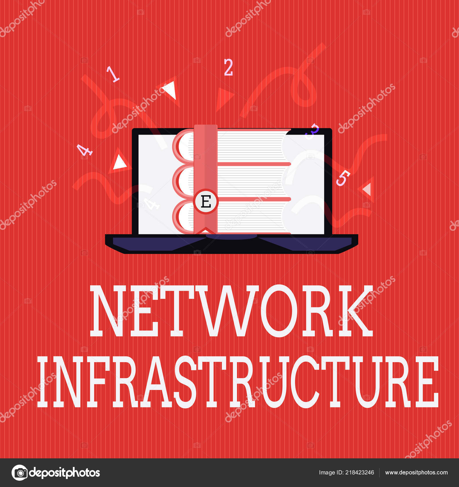 Writing Note Showing Network Infrastructure Business Photo Showcasing Hardware And Software Resources In And Out Connection Stock Photo C Artursz 218423246