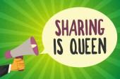 Text rukopisu psaní sdílení je královna. Koncept význam dávat další informace nebo patří je výborná kvalita.