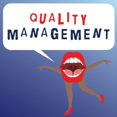 Writing note showing Quality Management. Business photo showcasing Maintain Excellence Level High Standard Product Services