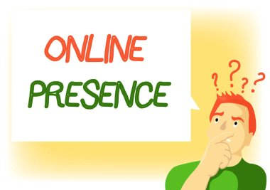 Writing note showing Online Presence. Business photo showcasing existence of someone that can be found via an online search