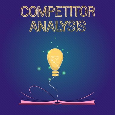 Handwriting text Competitor Analysis. Concept meaning Determine the Strength Weakness of Competitive Market