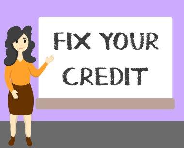 """Картина, постер, плакат, фотообои """"Слова, написание текста исправить ваш кредит. Бизнес-концепция для держать остатки низкий на кредитные карты и другие кредитные."""", артикул 218957664"""