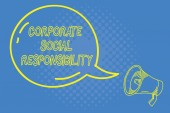 Handwriting text writing Corporate Social Responsibility. Concept meaning Internal corporate policy and Ethic strategy