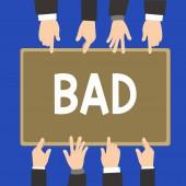 Fotografia Testo di scrittura della parola cattivo. Concetto di business per le cose spiacevoli che si verificano a mostrare gli effetti che sono moralmente sbagliati
