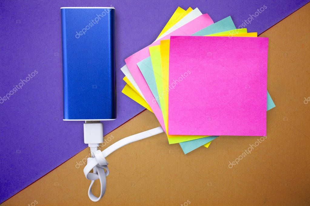 Design business concept Empty copy space modern abstract background Powerbank Charger USB white Cord with Sticky Notepad Sheet for Reminder