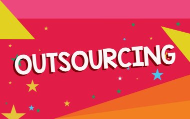 Writing note showing Outsourcing. Business photo showcasing Obtain goods or service by contract from an outside supplier