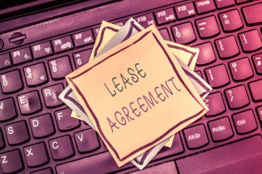 Text sign showing Lease Agreement. Conceptual photo Contract on the terms to one party agrees rent property