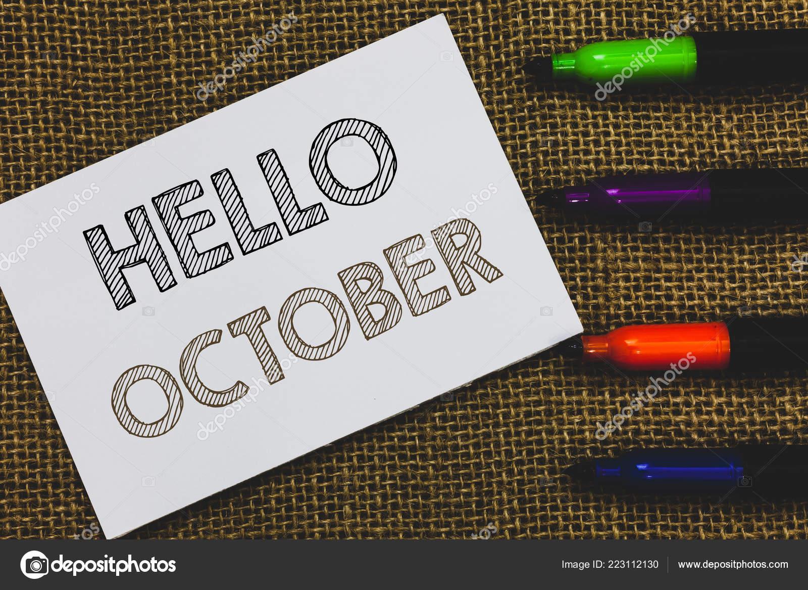Texto De Letra Hello De Outubro Conceito Significa Ideias
