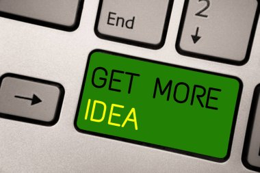 Writing note showing Get More Idea. Business photo showcasing Random Input Mind Map Picture Mock up Surveys Visualization Keyboard green Intention create computer computing reflection document.