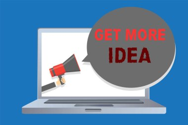 Writing note showing Get More Idea. Business photo showcasing Random Input Mind Map Picture Mock up Surveys Visualization Man holding megaphone loudspeaker speech bubble message speaking loud.