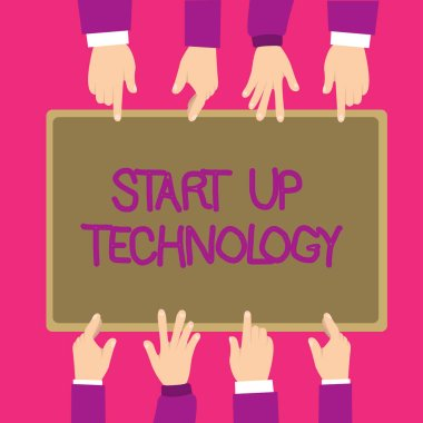 Text sign showing Start Up Technology. Conceptual photo Young Technical Company initially Funded or Financed