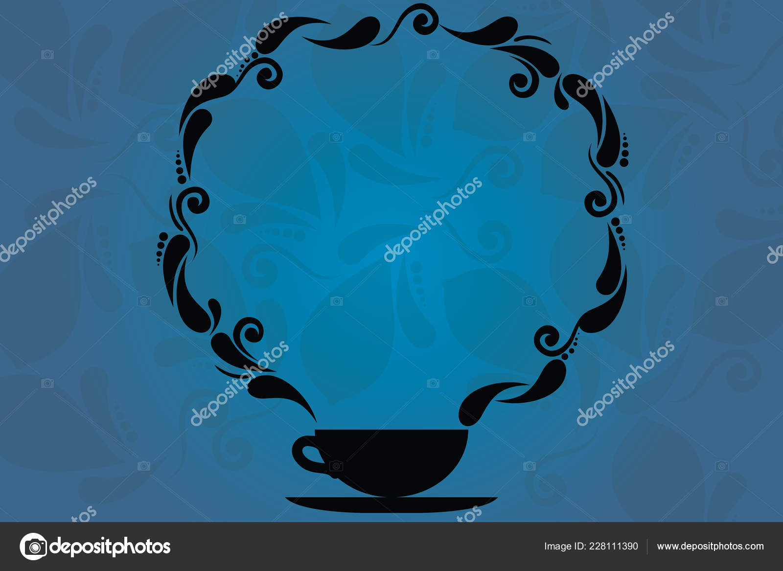 Design Business Empty Copy Space Text For Ad Website Promotion Isolated Banner Template Cup And Saucer With Paisley Design As Steam Icon On Blank Watermarked Space Stock Vector C Artursz 228111390