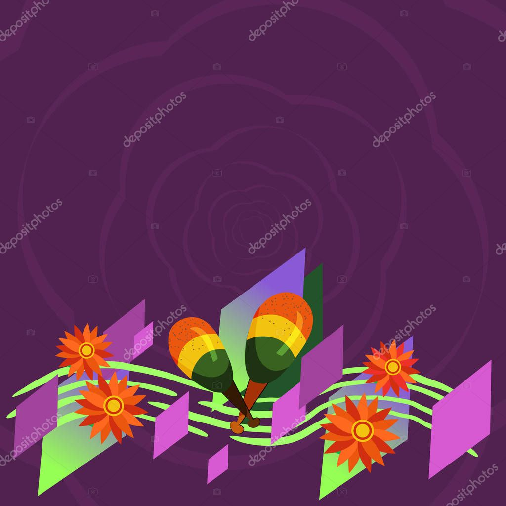 Design business Empty copy space text for Ad website promotion isolated Banner template Colorful Instrument Maracas Handmade Flowers and Curved Musical Staff