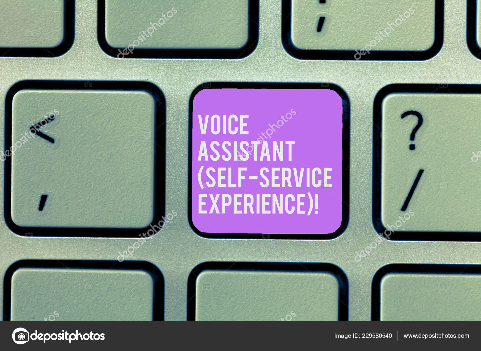 Text sign showing Voice Assistant Self Service Experience