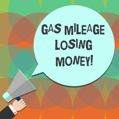Conceptual hand writing showing Gas Mileage Losing Money. Business photo text Long road high gas fuel costs financial losses Hu analysis Hand Holding Megaphone Color Speech Bubble.
