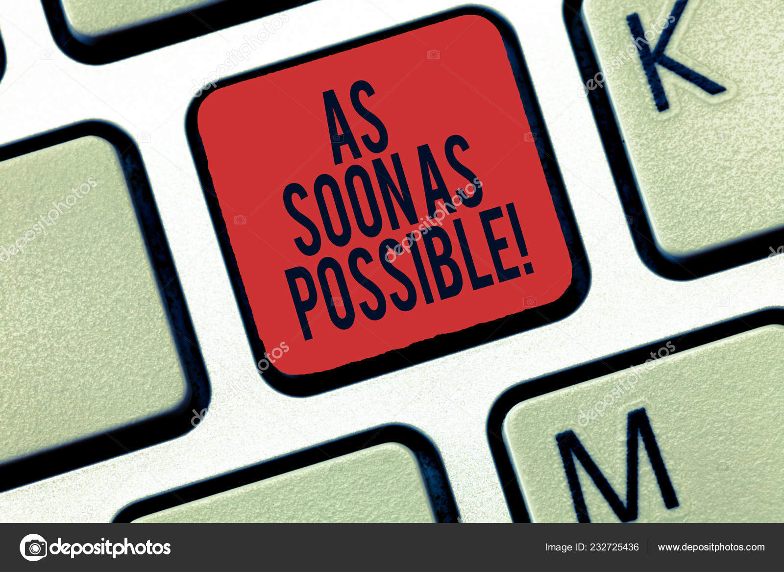 Word writing text As Soon As Possible. Business concept for Immediately  urgent take action quickly hurry up Keyboard key Intention to create  computer message, pressing keypad idea. — Stock Photo © artursz #232725436