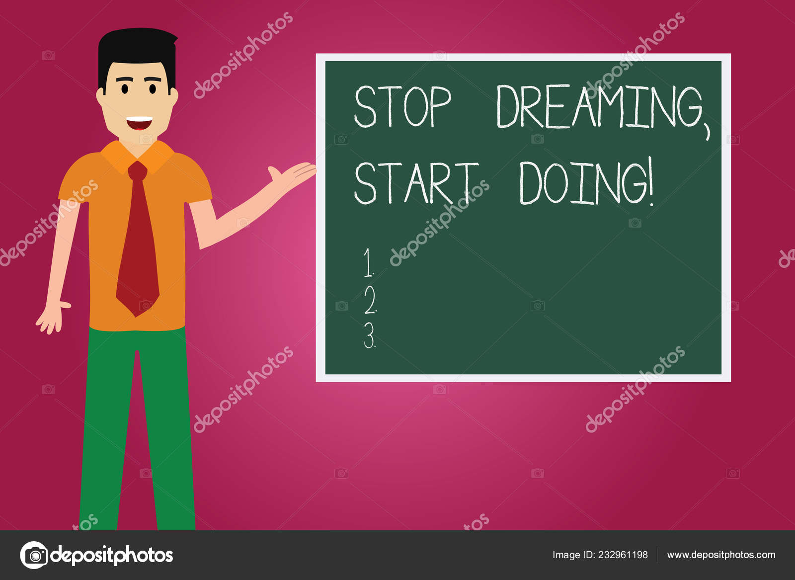 Word writing text Stop Dreaming Start Doing. Business concept for Put your  dreams into action Materialize it Man with Tie Standing Talking Presenting  Blank Color Square Board photo. — Stock Photo ©