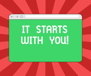 Conceptual hand writing showing It Starts With You. Business photo showcasing Motivation for starting doing something Have discipline Monitor Screen with Progress Control Bar Blank Text Space.