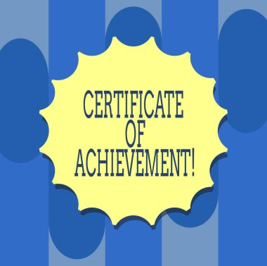 Handwriting text writing Certificate Of Achievement. Concept meaning certify that a demonstrating done exceptionally well Blank Seal with Shadow for Label Emblem Monogram Stamp Symbol Best Quality.