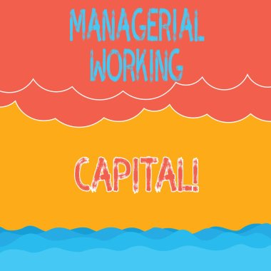 Text sign showing Managerial Working Capital. Conceptual photo Shortterm liabilities and shortterm assets Halftone Wave and Fluffy Heavy Cloud Seascape Scenic with Blank Text Space.
