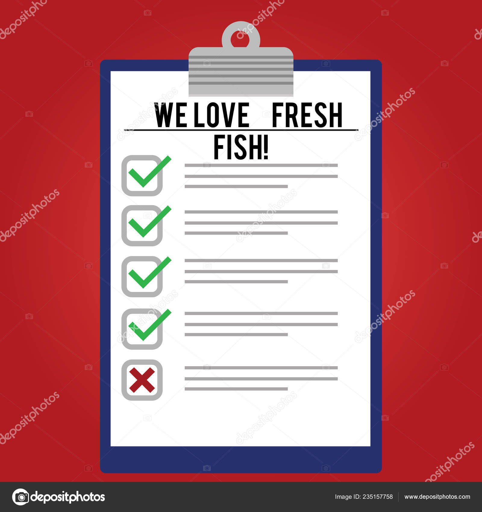 Handwriting Text Writing We Love Fresh Fish Concept Meaning Seafood Lovers Healthy Food Marine Cooking Culinary Arts Lined Color Vertical Clipboard With Check Box Photo Blank Copy Space Stock Photo Image