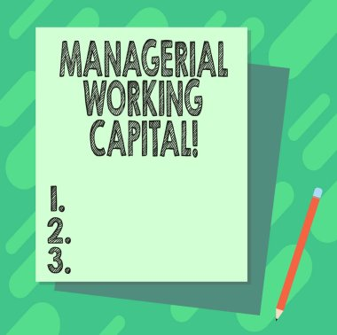 Word writing text Managerial Working Capital. Business concept for Shortterm liabilities and shortterm assets Stack of Blank Different Pastel Color Construction Bond Paper and Pencil.