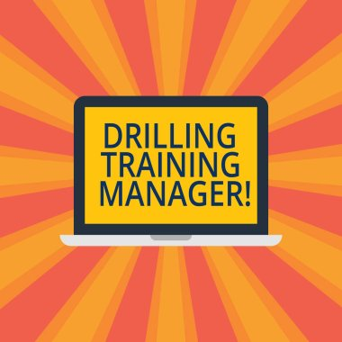 Text sign showing Drilling Training Manager. Conceptual photo Give the staff the understanding drilling process Laptop Monitor Personal Computer Device Tablet Blank Screen for Text Space.