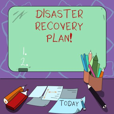 Word writing text Disaster Recovery Plan. Business concept for plan for business stability in the event of disaster Mounted Blank Color Blackboard with Chalk and Writing Tools Sheets on Desk.