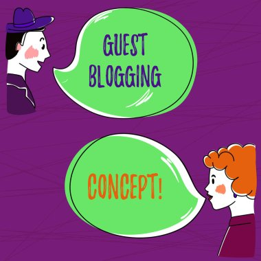 Text sign showing Guest Blogging Concept. Conceptual photo Writing a blog post to be issued on another blog Hand Drawn Man and Wo analysis Talking photo with Blank Color Speech Bubble.
