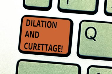 Conceptual hand writing showing Dilation And Curettage. Business photo text procedure to remove tissue from inside your uterus Keyboard key Intention to create computer message idea.