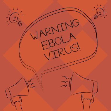 Handwriting text Warning Ebola Virus. Concept meaning inform showing demonstrating about this deadly disease Freehand Outline Sketch of Blank Speech Bubble Megaphone Sound Idea Icon stock vector