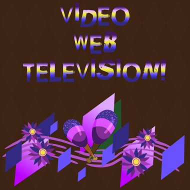Conceptual hand writing showing Video Web Television. Business photo showcasing television shows hosted on the channel s is websites Colorful Instrument Maracas Flowers and Curved Musical Staff.